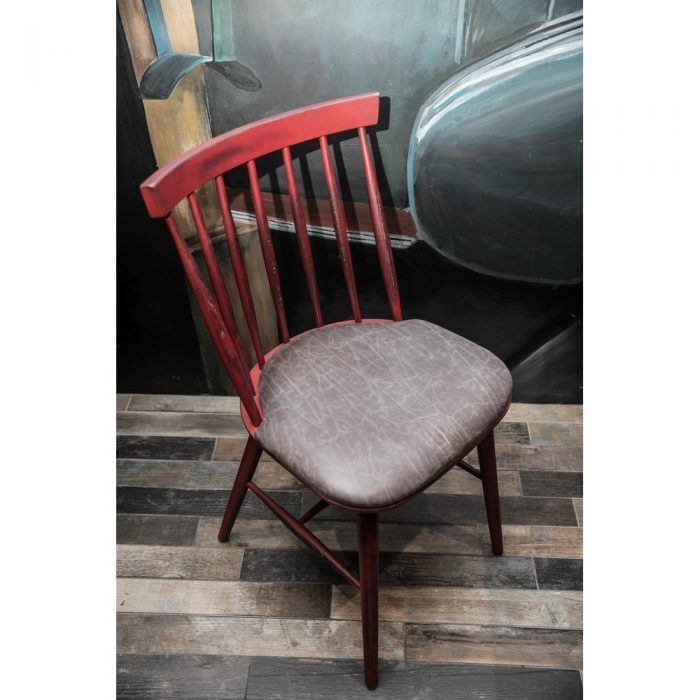 Upholstered seat and wooden back