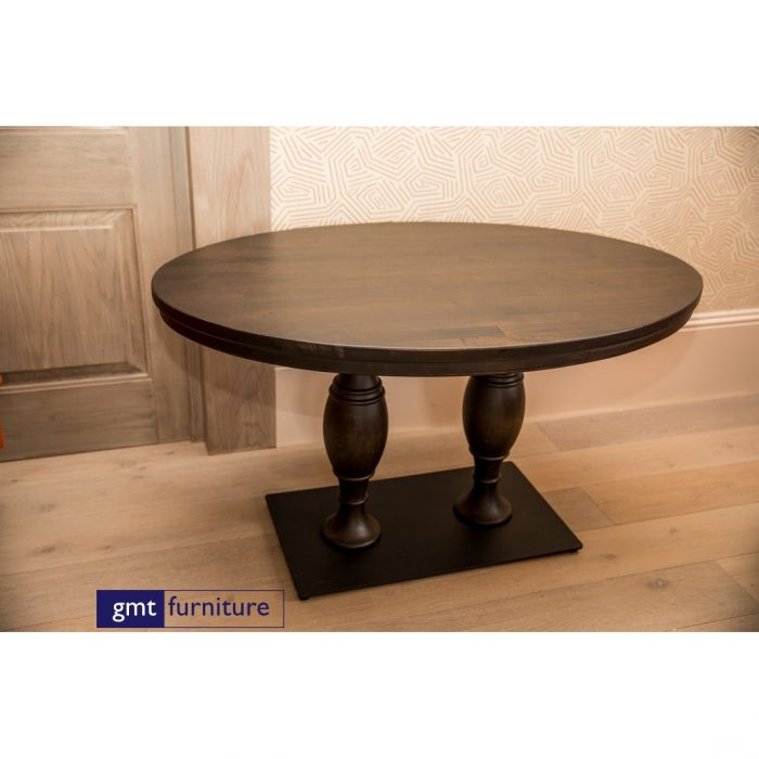 Wooden Table With Carved Stem and metal Base